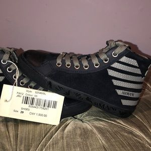 NWT Armani Junior high top sneakers